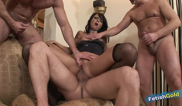 Hot brunette gets all fuck holes destroyed by three big cocks