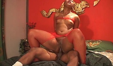 Attractive ebony babe is fucked hard from behind