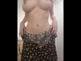 Amateur girl summer dress strip