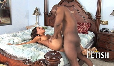 Black guy sticks his huge cock in ebony babe's wet pussy
