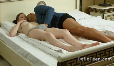 Tight virgin Galina Kurnosaya shows hymen before cock riding