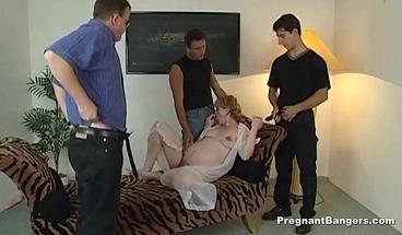 Golden-haired pregnant slut gets gangbang