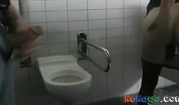 Anna teasing Strangers in Public Men's room