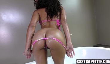 Ebony Babe Gets Caught Masturbating in Bathtub and Fucks