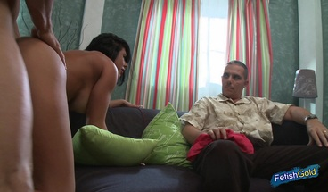 Busty wife gets fucked hard while cuckold husband watches