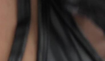 Ebony babe anally rides big white shlong
