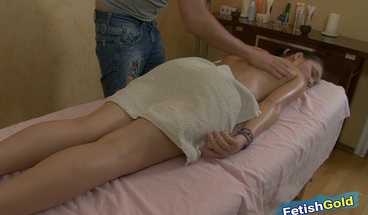Teen brunette gets massaged and banged by her horny masseur