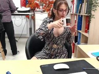 Risky office girl masturbation