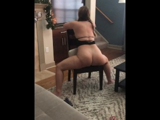 whore wife riding dildo on chair