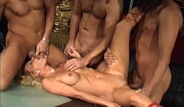 Sexy blonde MILF enjoys a rough gangbang with 3 dudes