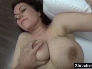 Busty amateur at porn audition with pissing and cum on tits