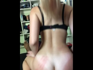College Blonde Spinner Takes BBC For a Reverse Cowgirl Ride (CUMS!)