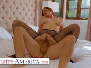 Naughty America - Lilian Stone gets big dick from boyfriends friend