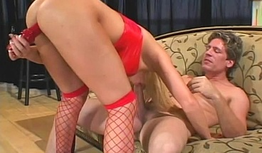 Busty blonde slut licks up all his hot sticky cum after anal