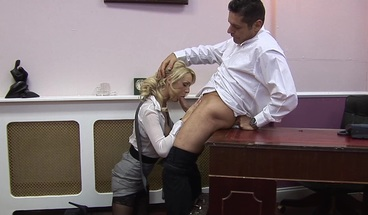 Blonde Secretary Gets Fucked in the Office by her Horny Boss