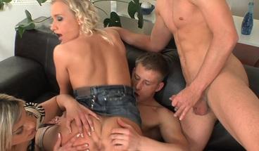 Big Tit Blondies Enjoy Orgy with Big Dicks Bi Friends