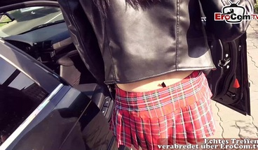 German petite schoolgirl teen public pick up and Outdoor POV