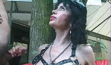 Nasty kinky cougar is covered in sticky cum after fuck fest