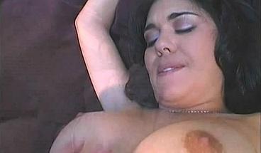 Big-titted brunette enjoys a hard DP in steamy FMM
