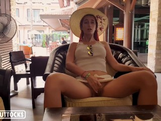 Hot Girl Masturbate Hairy Pussy in a Lounge - Outdoor Solo