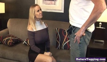 Naughty busty cocktugging milf gives handjob