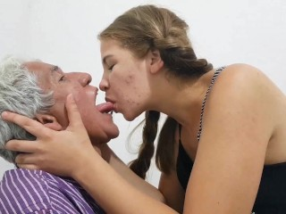 Young Girl Deep Makeout Session With Boyfriends Father Old Man