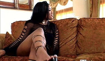 Pretty brunette ebony have passional sex with her horny lover