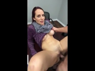 Cute hairy MILF creampie on the table
