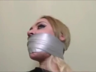 TWO GIRL MODELS TIED UP ~ HEAVILY GAGGED + HOG TIED ~~ HD