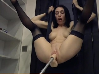 Hot slut tied up getting fucked hard by fuck machine with amazing squirting