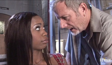 Brunette ebony prisoner gets hammered by older police man