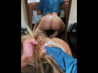Sexy Blonde GF Mirror BJ With Ass View