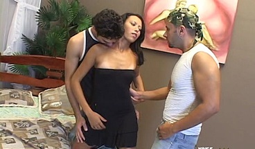 Two horny bisexual men fuck one babe with small boobs