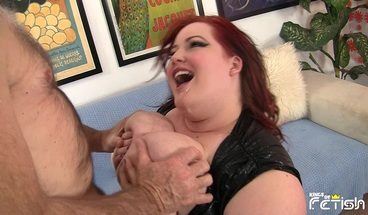 Busty BBW squirts after getting fucked by older man