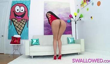 SWALLOWED Aaliyah Hadid deepthroats a huge black cock