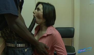 Muscular black guy with huge cock fucks hard brunette doctor at hospital