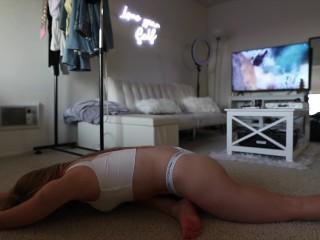 Caroline Zalog Yoga in New CK Panties