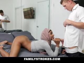 Pleasuring hot muslim step sister in her hijab