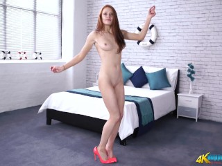 Redhead Dances & Strips Out of her Sexy Dress