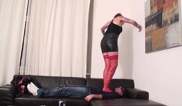 Footgirls trample slaves