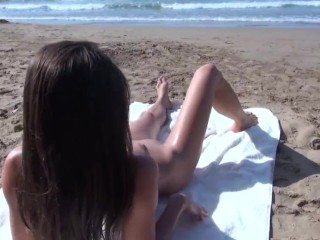 Caprice Nude Beach Day-Off (lucky beach-goers get to see her perfect pussy up-close and personal)