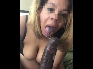 Sucking a massive BBC while my cucky is at home