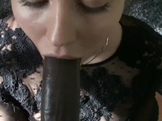 Pretty Eyed White Girl Swallows Load From Huge BBC