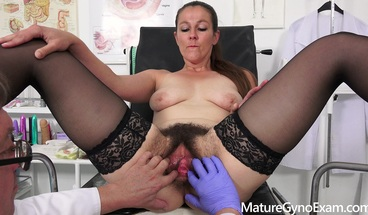 Valentina Ross on her gyno exam of her hairy muff