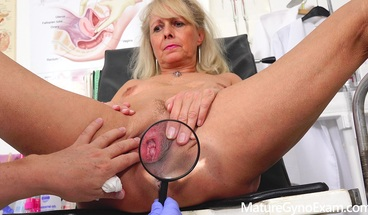 Naked Granny on her gyno exam