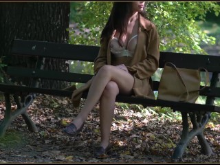 Erotic Exhibitionism F47 - Gorgeous Babe goes Braless at Work then Naked in the Park