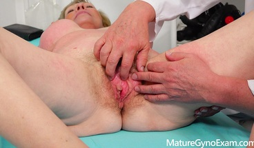 Big busty granny's gyno exam by freaky doctor