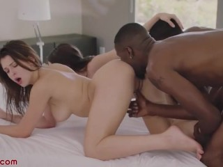 Perfect brunettes sucking big black cocks and fucking after