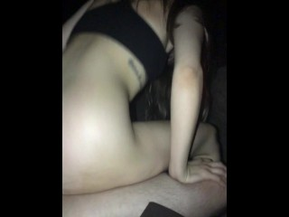HOT college babe riding dick fireside, reverse cowgirl romantic outdoor sex
