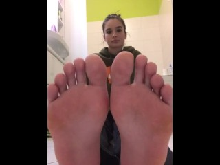 Beautiful Teen Girl showing off her perfect Feet and Socks